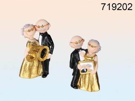 719202 Lustiges Polyresin-Paar, Goldene Hochzeit mit 50 & Bilderrahmen sortiert, ca. 10,5 x 6,5 cm