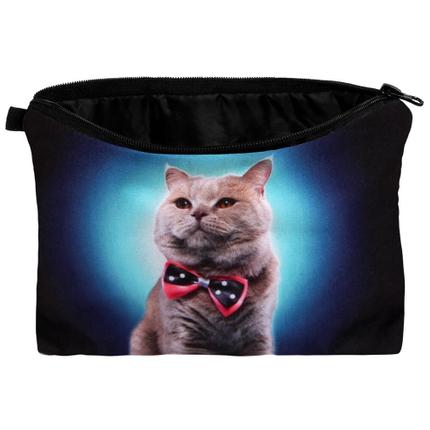 KT-004 Kosmetik Tasche mit Motiv  Katze mit Fliege