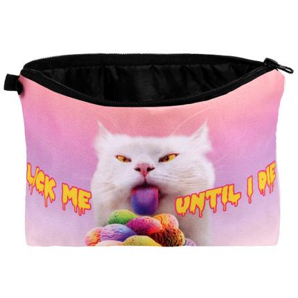 KT-027 Kosmetik Tasche mit Motiv  Katze: Lick me until I die