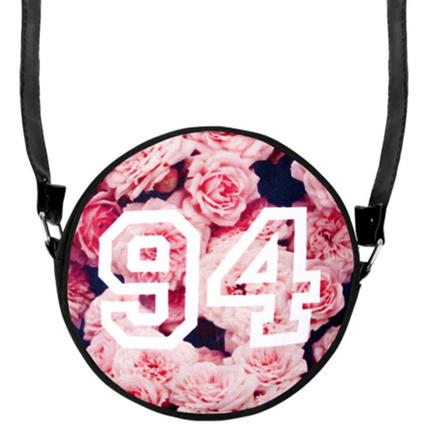HT-022 Runde Motiv-Handtasche  Rosa Rosen & 94
