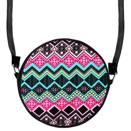 HT-030 Runde Motiv-Handtasche  Aztekenmuster