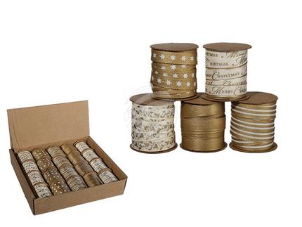 950007 Weißes & goldfarbenes Schleifenband, Weihnachten, ca. 10 mm x 3 m, 5-fach sortiert, 20 Rollen im Aufsteller, 2880/PAL