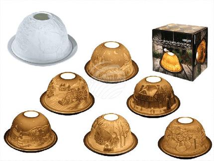 950060 Porzellan-Dome Light, Weihnachten, ca. 12 x 7,5 cm, 6-fach sortiert, in Geschenkpackung