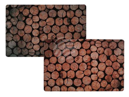 145075 Naturfarbenes Polypropylen-Tischset, Baumstämme, ca. 43,5 x 26 cm, 2-fach sortiert, 12 Stück im Polybeutel