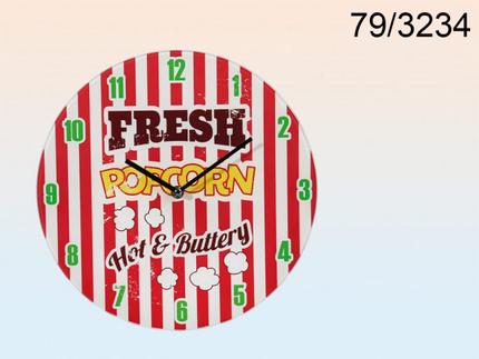 79-3234 Glas-Wanduhr, Fresh Popcorn, D: ca. 30 cm, für 1 Mignon Batterie (AA)