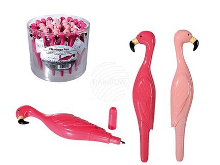 29-3054 Kunststoff-Kugelschreiber, Flamingo, ca. 12 cm, 2-farbig sortiert, 36 Stück in PVC-Dose
