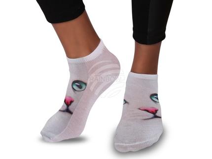 SO-41 Motiv Socken Design:Katze Farbe: türkis, pink