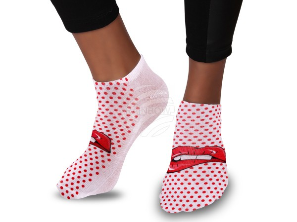 SO-56 Motiv Socken Design:Lippen Pop Art Farbe: rot