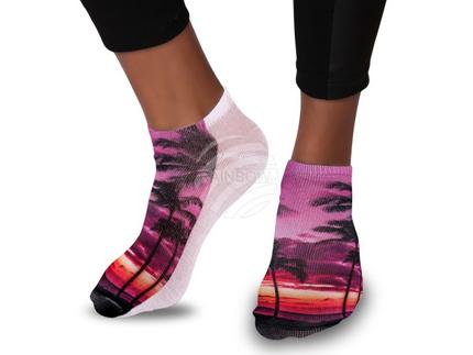 SO-70 Motiv Socken Design:Palmen Strand Farbe: schwarz