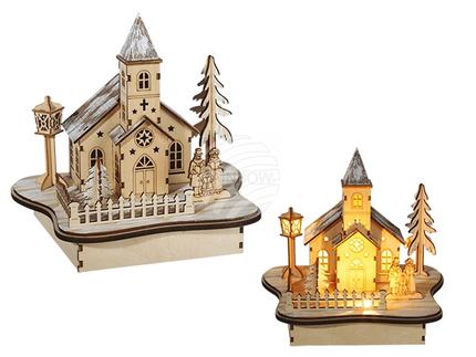 960080 Naturholz-Winterlandschaft, Kirche, mit 5 warmweißen LED, ca. 22 x 20 cm, für 2 Mignon Batterien (AA)