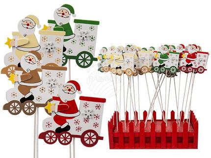 948131 Holz-Stecker, Weihnachtsmann auf Lokomotive, ca. 6 x 27 cm, 4-farbig sortiert, 24 Stück im Aufsteller, 3888/PAL