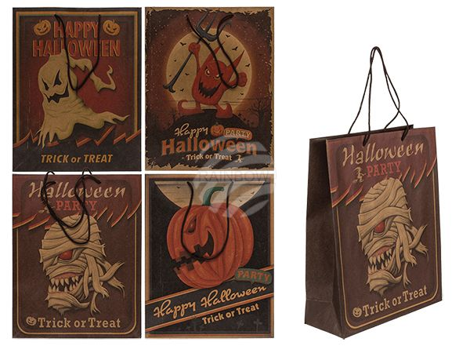 190110 Papier-Geschenktüte, Vintage Look, Halloween, ca. 26 x 33 x 10 cm, 4-fach sortiert, 20 Stück im Polybeutel