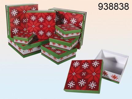 938838 Geschenkkartonage mit Strickmuster, Weihnachten, ca. 22,5 x 22,5 x 8 cm, 8e