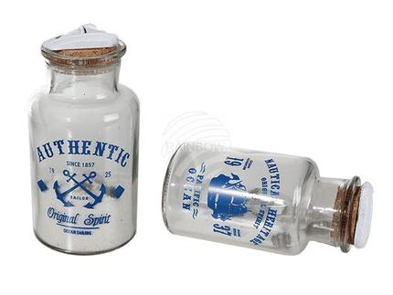 830328 Deko-Glasflasche mit Korkverschluss, Sand & Muscheln, ca. 13 x 6,5 cm, 2-fach sortiert, 1320/PAL