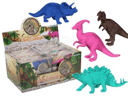 80-4034 Radiergummi, Dinosaurier, ca. 15 cm, 4-fach sortiert, 12 Stück im Display
