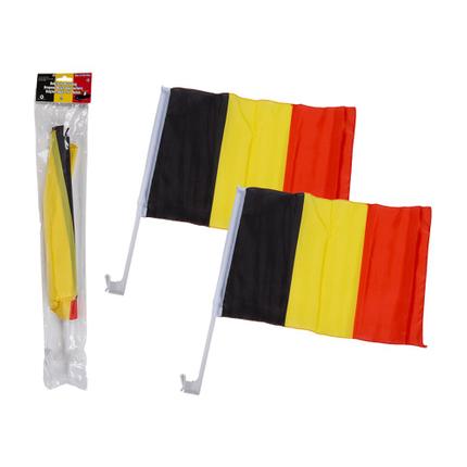 00-0834 Belgienflagge für Autos, ca. 45 x 30 cm, 2er Set im Polybeutel mit Headercard, 1536/PAL