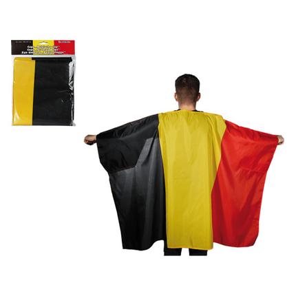 00-0752 Fan-Umhang, Belgienflagge, ca. 87 x 150 cm, im Polybeutel mit Headercard, 3024/PAL