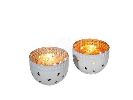 350066 Runder, weißer Metall-Teelichthalter mit goldener & silberfarbener Beschichtung sortiert, ca. 7,5 x 6 cm