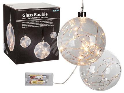260067 Glas-Kugel mit 10 weißen LED, ca. 12 cm, zum Aufhängen, für 2 Mignon Batterien (AA) in Geschenkpackung
