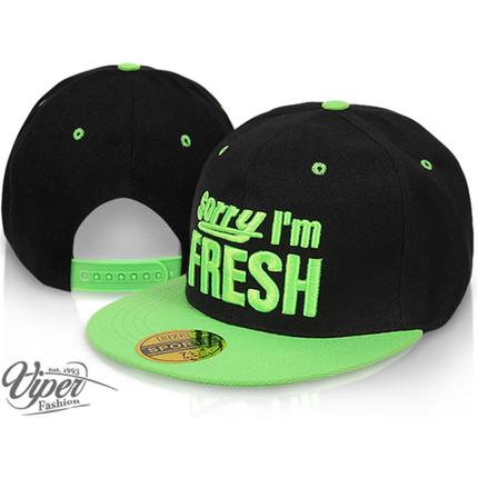 CAP-100 Snapback Flatbrim Cap  Sorry, I´m fresh  Farbe: schwarz / grün