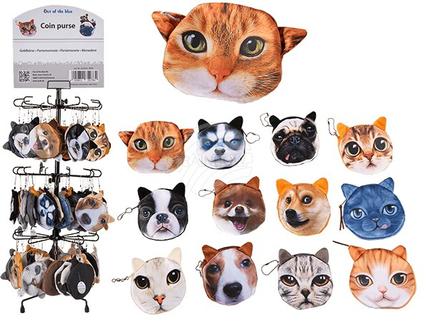 02-5015 Geldbörse, Dogs & Cats, 100% Polyester, 12-fach sortiert, 150 Stück auf Display, 4500/PAL