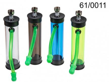 61-0011 Mini-Acryl-Pfeife, Colours, ca. 12 cm, 4-farbig sortiert, 12 Stück im Display, 7200/PAL