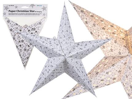 960087 Weißer Papier-Weihnachtsstern mit silberfarbenem Sterndekor, zum Aufhängen, ca. 45 cm, im Polybeutel mit Headercard, 1440/PAL