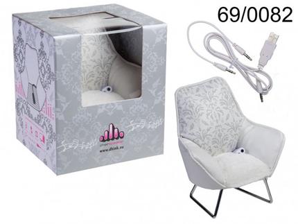 69-0082 Handyhalter, White Chair, mit Lautsprecher & USB-Anschlusskabbel, ca. 20 cm