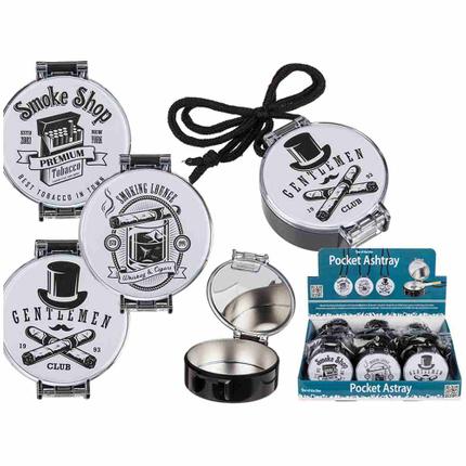 29-3498 Metall-Taschenaschenbecher mit Kunststoffgehäuse & Kordel, Round, ca. 6,5 cm, 3-fach sortiert, 12 Stück im Display, 6912/PAL