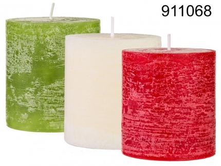 911068 Stumpenkerze, ca. 7 x 7,5 cm, 3-farbig sortiert (3 x rot, 3 x cremefarben, 2 grün) 8 Stück im Aufsteller