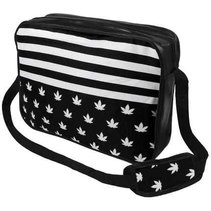 MEB-014 Messenger Bag Motiv: Weed & Stripes Farbe: schwarz, weiß