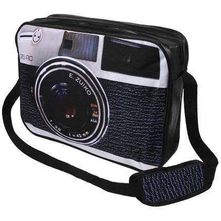 MEB-016 Messenger Bag Motiv: Kamera Farbe: schwarz, weiß