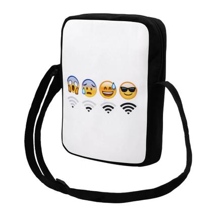 MEB-k035 Messenger Bag Motiv: Emoticon Wifi Farbe: weiß, gelb