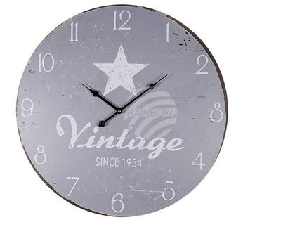 79-3247 Holz-Wanduhr, Vintage Look, Star, D: ca. 58 cm, für 1 Mignon Batterie (AA), 40/PAL