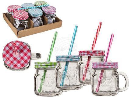 78-7848 Trinkglas, Einmachglas mit Henkel, Metallschraubverschluss & Kunststoff-Trinkhalm, für ca. 200 ml, H: 10 cm, 4-farbig sortiert, 6 Stück im Aufsteller, 1008/PAL