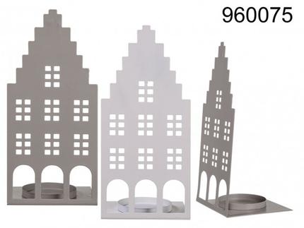 960075 Metall-Teelichthalter, Haus, ca. 20 x 9 cm, 2-farbig sortiert, 1728/PAL