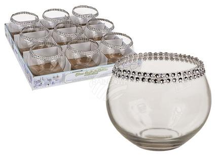 350023 Glas-Teelichthalter mit Dekoperlen, ca. 10 x 8 cm, 9 Stück im Aufsteller, 1080/PAL