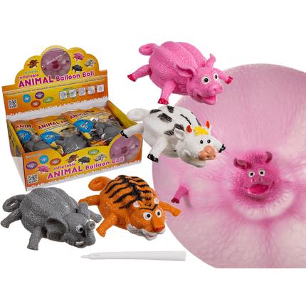 12-0948 Aufblasbarer Ballon-Ball, Tiere, bis ca. 25 cm, 4-fach sortiert, 12 Stück im Display, 2880/PAL