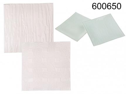 600650 Glasuntersetzer, weiß satiniert, ca. 12 x 12 cm, 2-fach sortiert, 16 Stück im Aufsteller