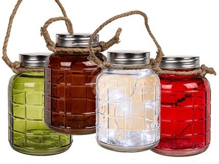 101581 Deko-Glas mit 5 LED, ca. 20,5 x 14,5 cm, 4-farbig sortiert, für 3 Mignon Batterien (AA) nur für den Innenbereich
