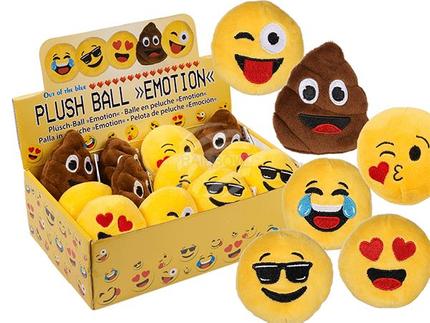 62-1018 Plüsch-Ball, Emotion, ca. 8 cm, 6-fach sortiert, 12 Stück im Display, 2520/PAL