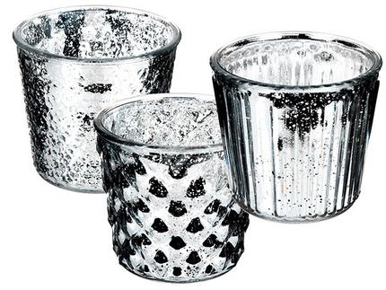 350101 Silberfarbener Glas-Teelichthalter, antik-finish, ca. 13,5 x 12 cm, 3-fach sortiert, 6 Stück im Display