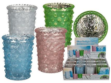 350102 Pastellfarbener Glas-Teelichthalter, ca. 8 x 6,5 cm, 4-farbig sortiert, 12 Stück im Display