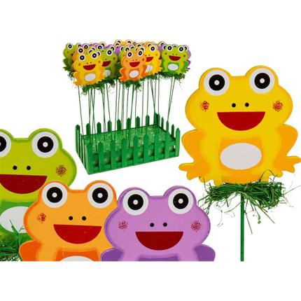 137173 Holz-Gartenstecker, Frosch, ca. 7 x 26 cm, 4-farbig sortiert, 24 Stück im Aufsteller, 3024/PAL