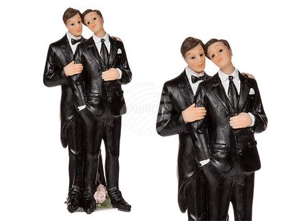 719221 Männliches Polyresin-Hochzeitspaar auf Sockel mit Rosen, ca. 13 x 5 cm
