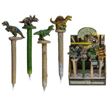 29-3071 Polyresin-Kugelschreiber, Dinosaurier, ca. 16 cm, 4-fach sortiert, 12 Stück im Display, 3456/PAL