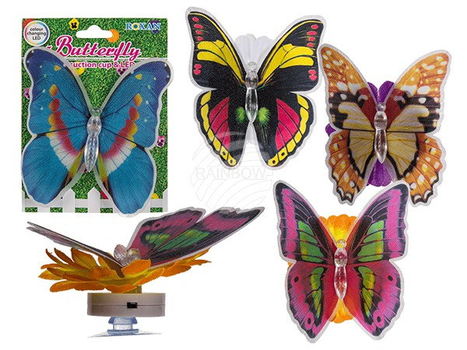 144161 Schmetterling auf Blüte mit Saugnapf & farbwechselnder LED (inkl. Batterie) ca. 8 x 6 cm, 4-fach sortiert, auf Blisterkarte