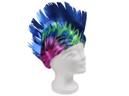 PI-008 Perücke Kurzhaar Irokese Punk blau multicolor