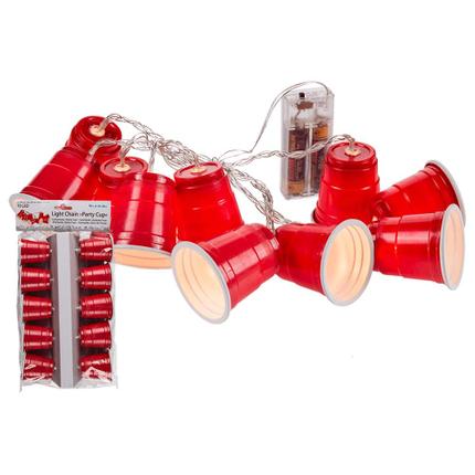 57-8023 Lichterkette, Party Cup, mit 10 LED, ca. 5 cm, L: ca. 2,05 m, für 2 Mignon Batterien (AA) im Polybeutel mit Headercard, nur für den Innenbereich geeignet, 432/PAL