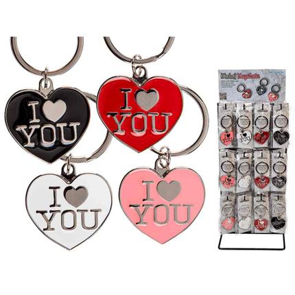 24-1106 Metall-Schlüsselanhänger, I love you, ca. 4 cm, 4-farbig sortiert, 48 Stück auf Display